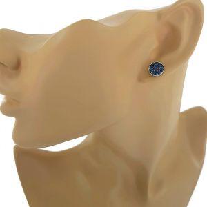 Ploché náušnice s tmavě modrými křišťály Swarovski GIIL