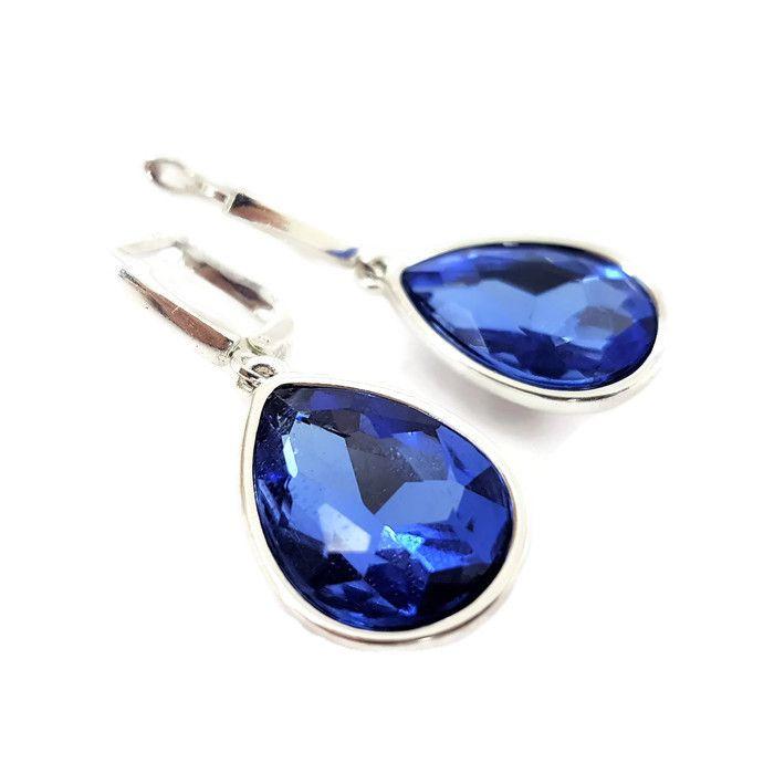 Náušnice ve tvaru tmavě modrých kapek