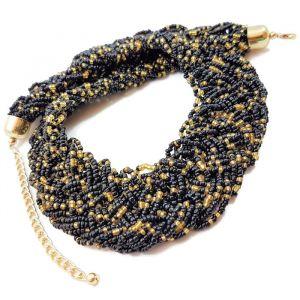 Proplétaný zlatočerný náhrdelník