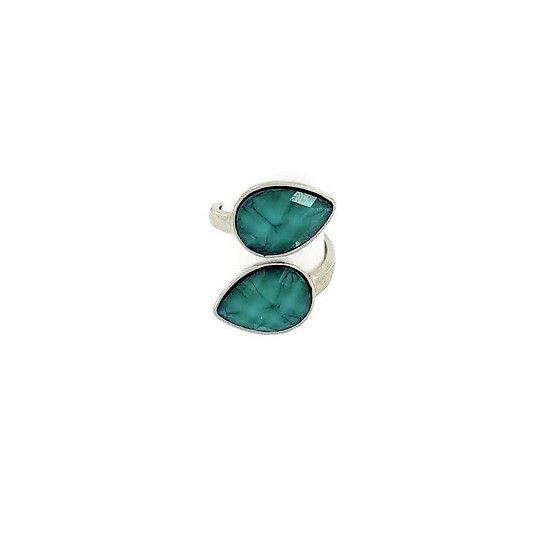 Prsten s dvěma kamínky do tvaru kapek GIIL