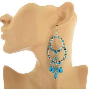 Stříbrné náušnice s modrozelenými korálky GIIL