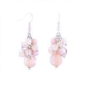 Náušnice růžové korálkové