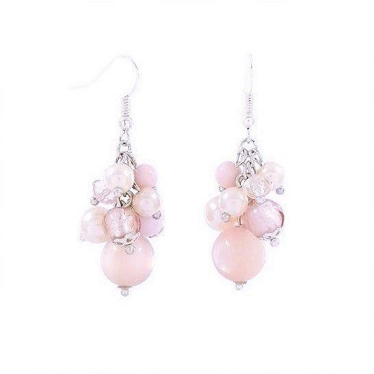 Stříbrné visací náušnice růžové korálky GIIL