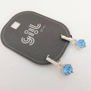 Postřibřené náušnice Swarovski se světle modrým křišťálem GIIL