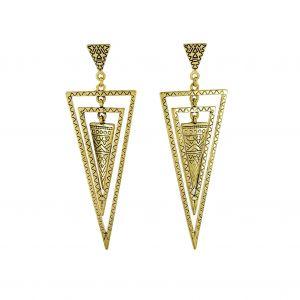 Zlaté houpací náušnice trojúhelníky