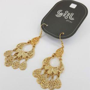 Zlaté lustrové náušnice slzičky orientálního stylu GIIL