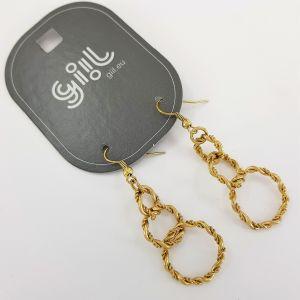 Zlaté visací kroužkové náušnice ostnatý drát GIIL
