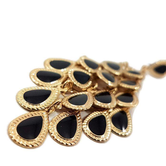 Zlaté visací náušnice s černými šupinkami GIIL