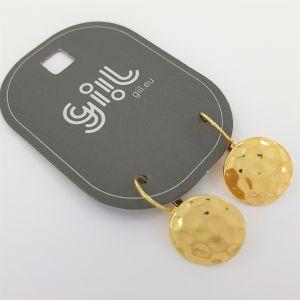 Zlaté visací náušnice tepaná placka GIIL