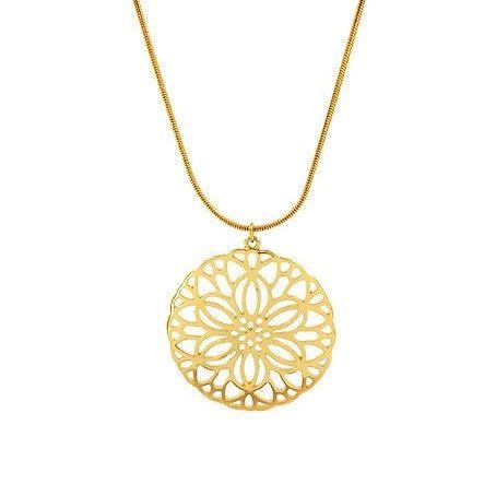 Zlatý náhrdelník s květinou GIIL