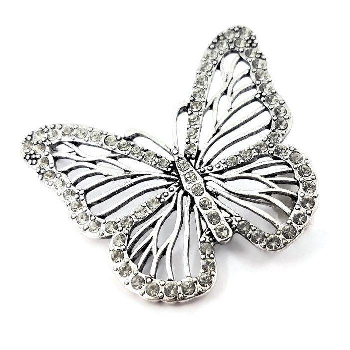 Brož s kamínkovým motýlem