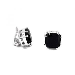 Clip náušnice s černým kamínkem