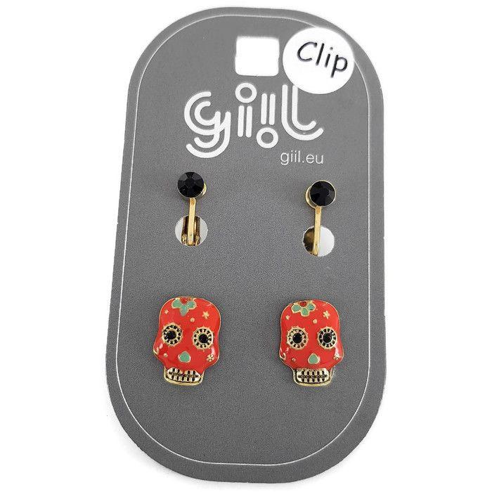 Dva páry klip náušnic s barevnými lebkami a černými kamínky GIIL