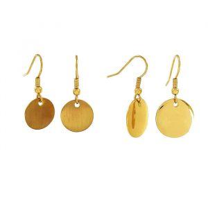 Dva páry zlatých visacích náušnic ve tvaru placiček