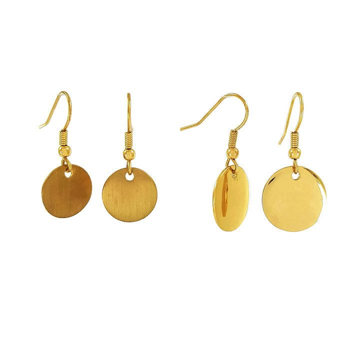 Dva páry zlatých visacích náušnic ve tvaru placiček GIIL