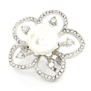 Květinová brož s perličkou