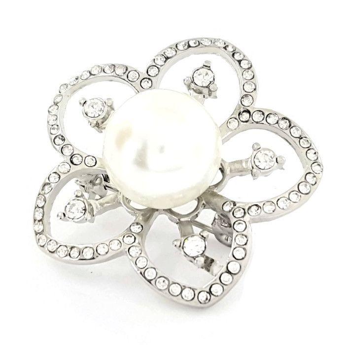 Květinová brož s perličkou GIIL