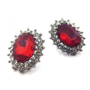 Luxusní náušnice s červeným kamínkem