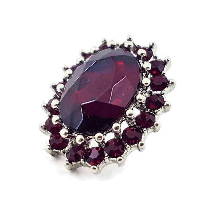 Luxusní náušnice s tmavě červenými kamínky GIIL