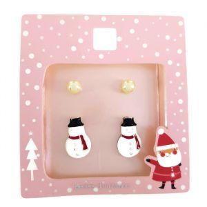 Set dvou párů náušnic - perličky, sněhuláci