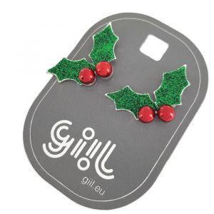 Vánoční náušnice s motivem cesmíny