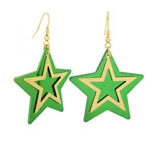 Visací náušnice s motivem hvězdy v zeleno-zlaté barvě