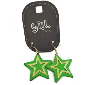 Visací náušnice s motivem hvězdy v zeleno-zlaté barvě GIIL