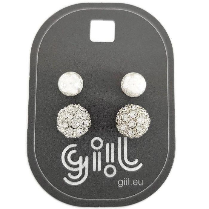 Náušnice kuličky perla a kulička s kamínky GIIL