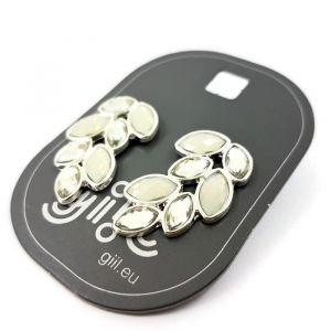 Náušnice s bílými kamínky do tvaru křídel GIIL