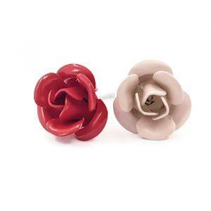 Náušnice s červenými a narůžovělými růžičkami