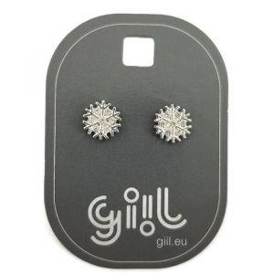 Náušnice ve tvaru vločky ve stříbrné barvě s kamínky GIIL