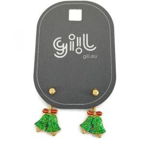 Náušnice 2 v 1 se zelenými blýskavými zvonky a červenou mašličkou GIIL