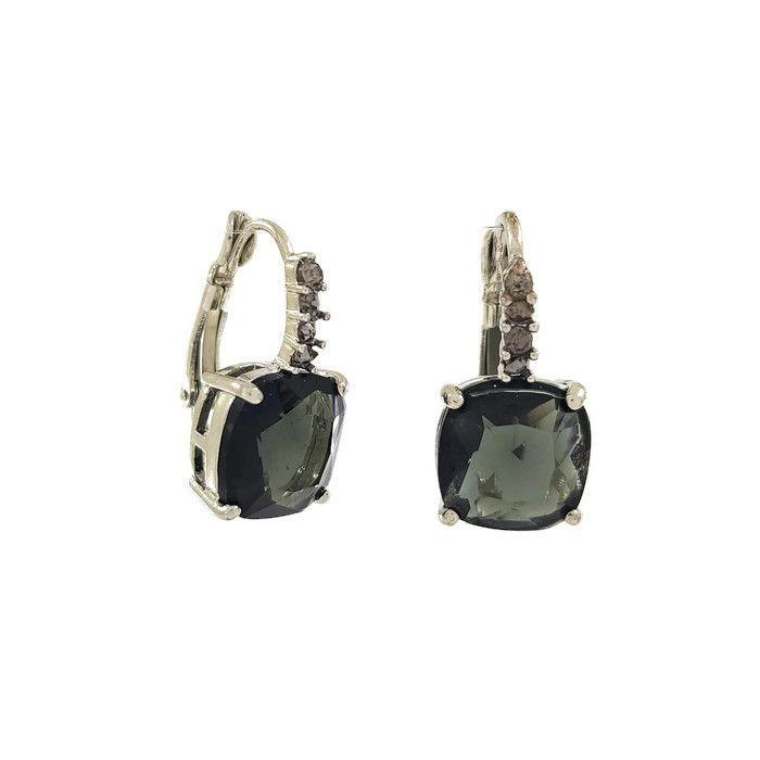 Visací náušnice s velkým černým kamenem a malými širými kamínky