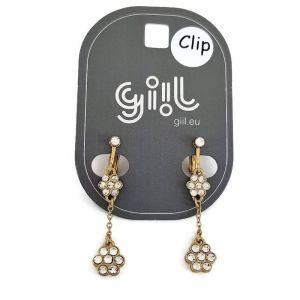 Zlaté klip náušnice s kamínky do tvaru kytičky GIIL