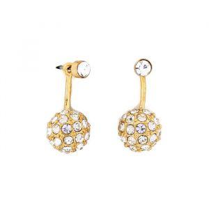 Zlaté visací náušnice 2 v 1 malý kamínek a půl kulička s kamínky
