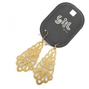 Zlaté visací náušnice s krajkovaným vzorem