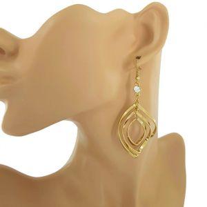 Zlaté visací náušnice skládané spirály s kamínkem GIIL