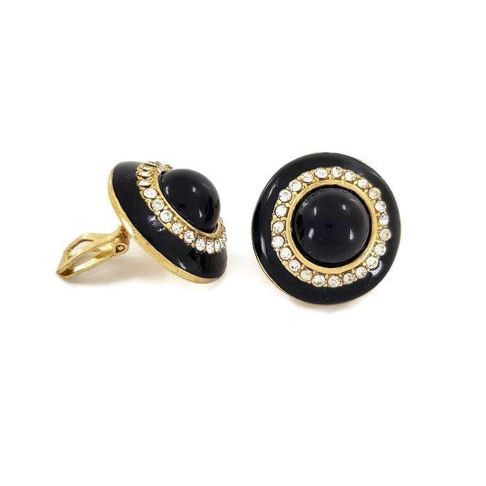 Zlatočerné Clip náušnice s kamínky GIIL