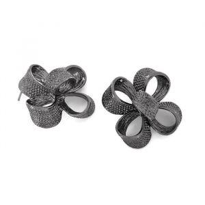 Černé peckové náušnice mašle do tvaru kytky