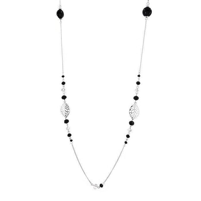 Černý dlouhý náhrdelník s lístky GIIL