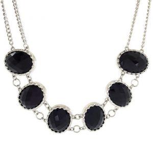Černý masivní náhrdelník s kameny