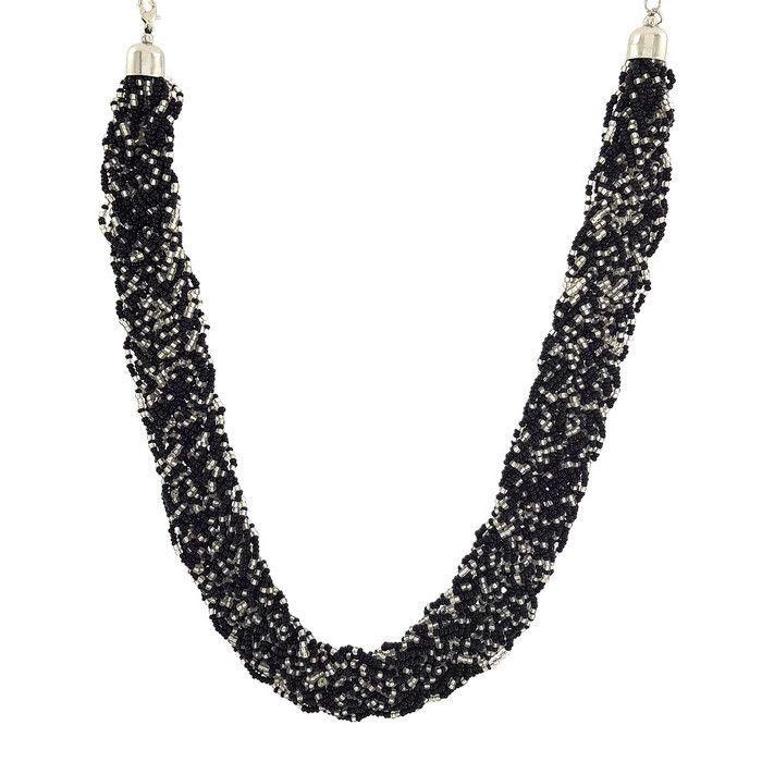 Černý masivní náhrdelník z korálků GIIL