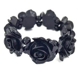 Černý masivní náramek s květy na gumičku