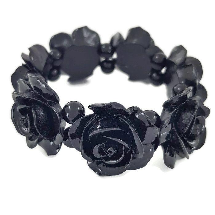 Černý masivní náramek s květy na gumičku GIIL