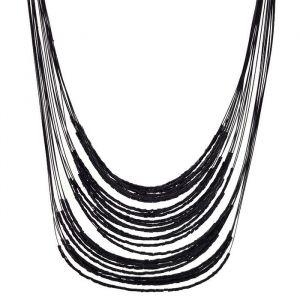 Černý náhrdelník dlouhý z korálků