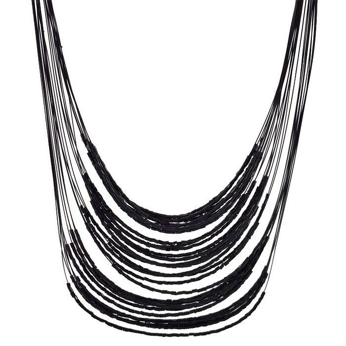 Černý náhrdelník dlouhý z korálků GIIL