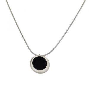 Černý náhrdelník s kamínkem, řetízkový
