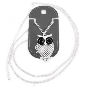 Černý náhrdelník s velkou sovičkou GIIL