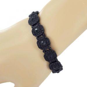 Černý náramek s kytičkami na gumičku GIIL