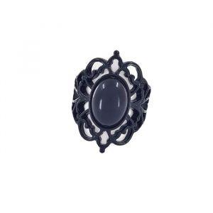 Černý prstýnek s černým kamínkem GIIL